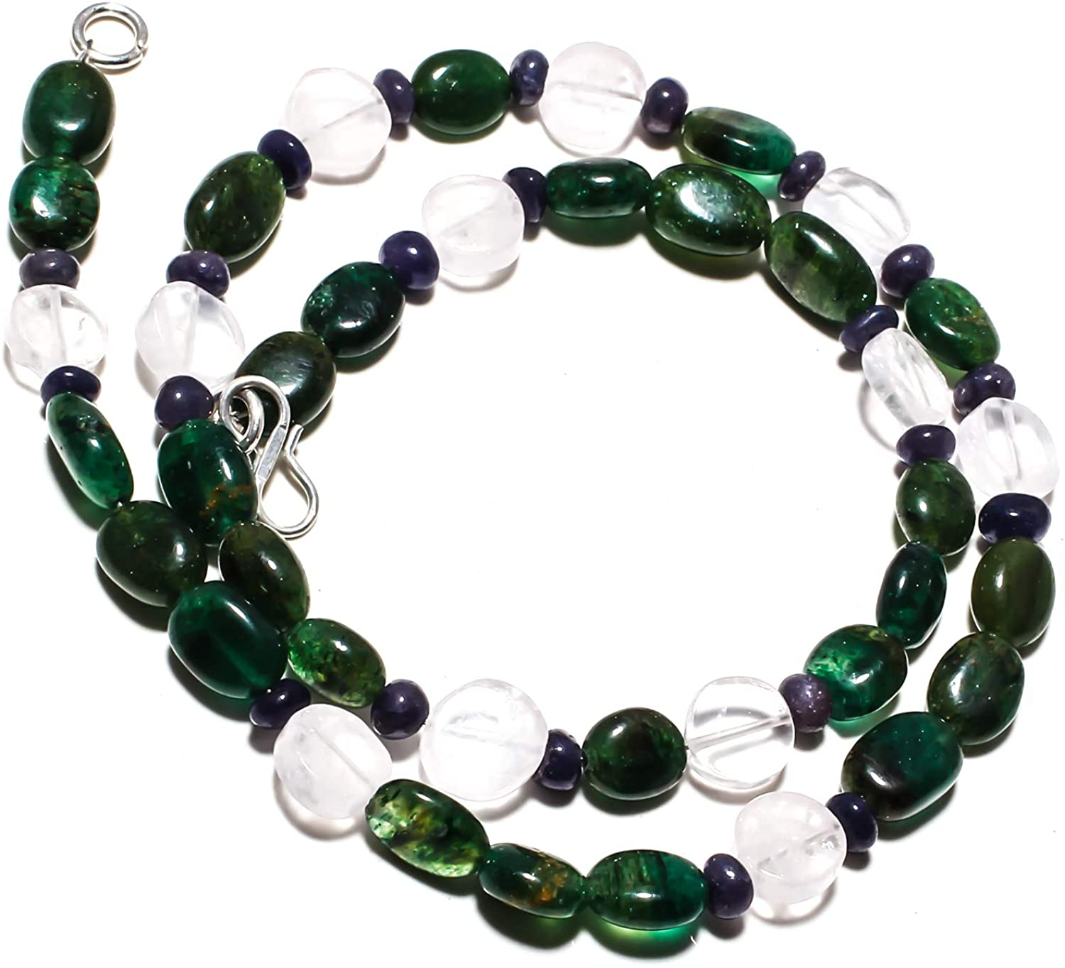 kanta incorporation Moss Agate Natural Gemstone Beads Jewelry Necklace 17