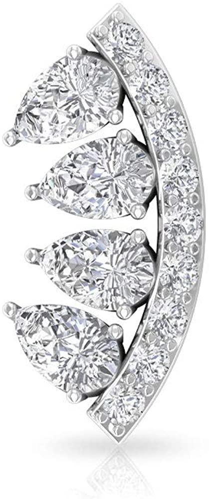 Wedding Cartilage Earring, SGL Certified 0.51 Ct Pear Shape Diamond Ear Cuffs, Unique Climber Earring, Helix Conch Earring, Body Jewellery, Body Jewellery, Single Piece, 10K Gold