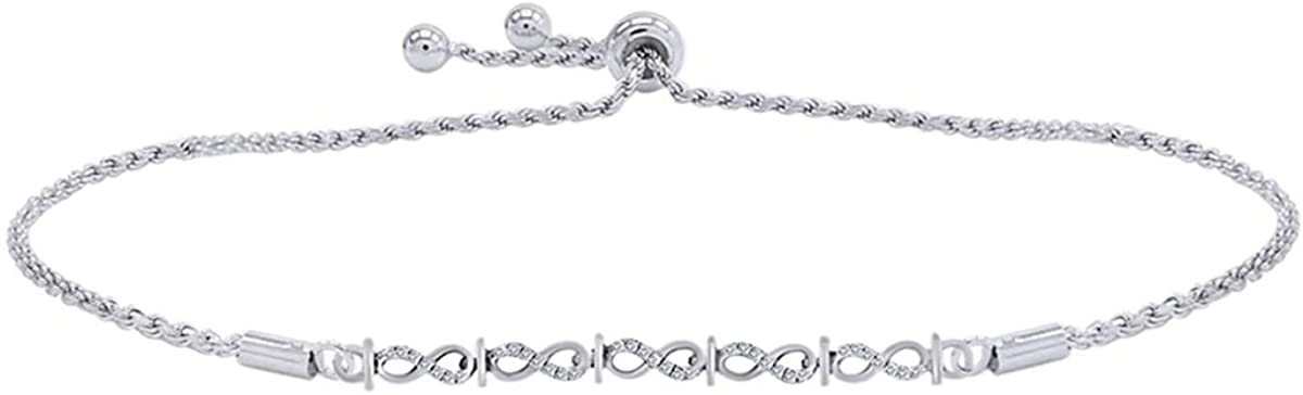 Christmas Holiday Sale Wishrock 1/6 Cttw Womens Natural Round Diamond Infinity Link Bolo Bracelet 14kt Gold over Sterling Silver