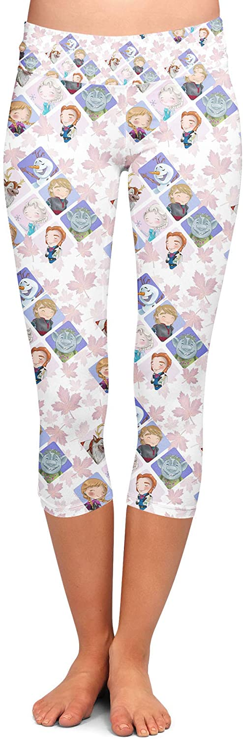 Yoga Leggings, Capri Length, Low Waist - Frozen Favorites Disney Inspired White