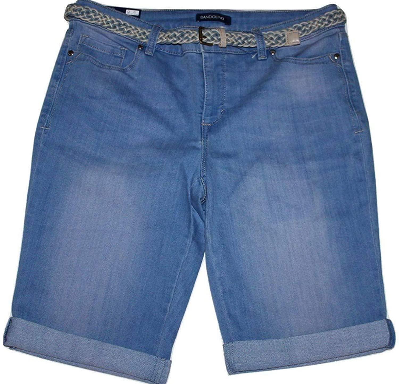 Bandolino Riley Women's Light Wash Denim Blue Bermuda Shorts with Belt and 13