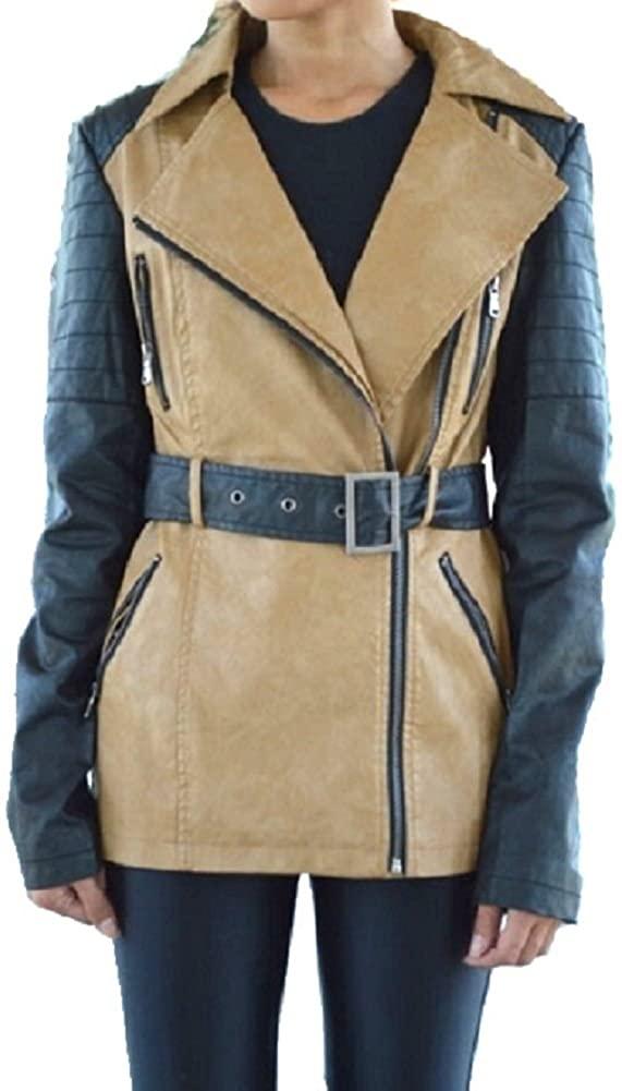 Crème Women's Camel Plush Faux Tan Leather Motorcycle Coat Jacket