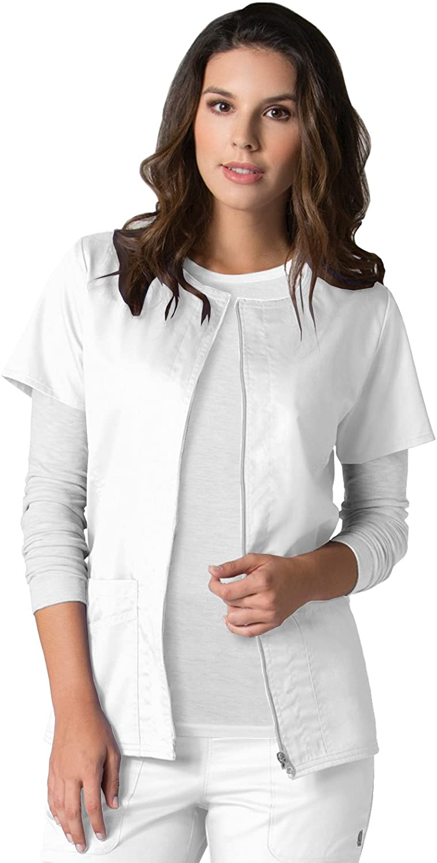 EON Maevn Women's Back Mesh Panel Short Sleeve Zip Front Jacket(White, Small)