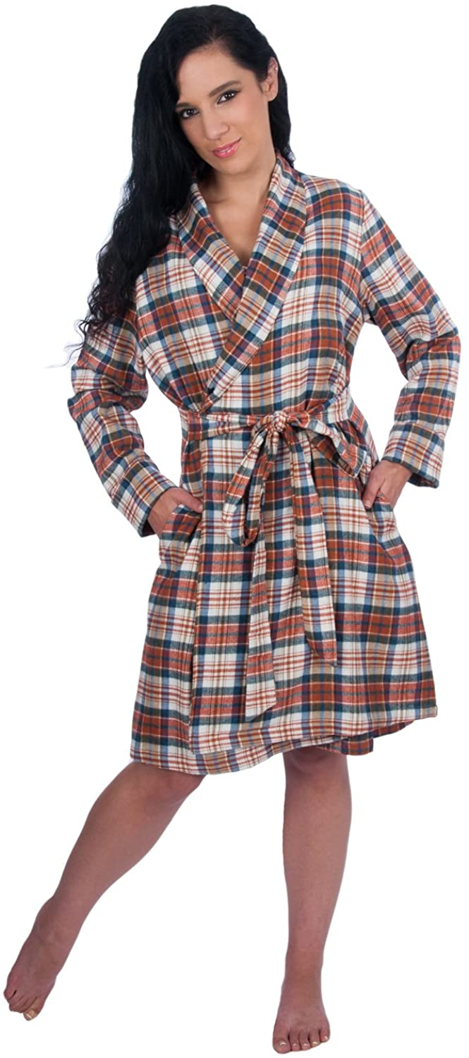 Long Sleeve Cozy 100% Cotton Flannel Robe - Plaid