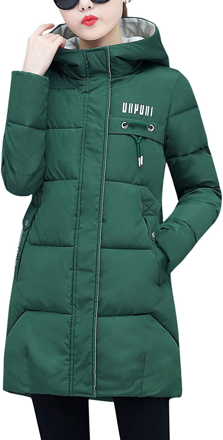 Flygo Womens Puffer Parka Jacket Thickened Hooded Long Quilted Insulated Warm Coat