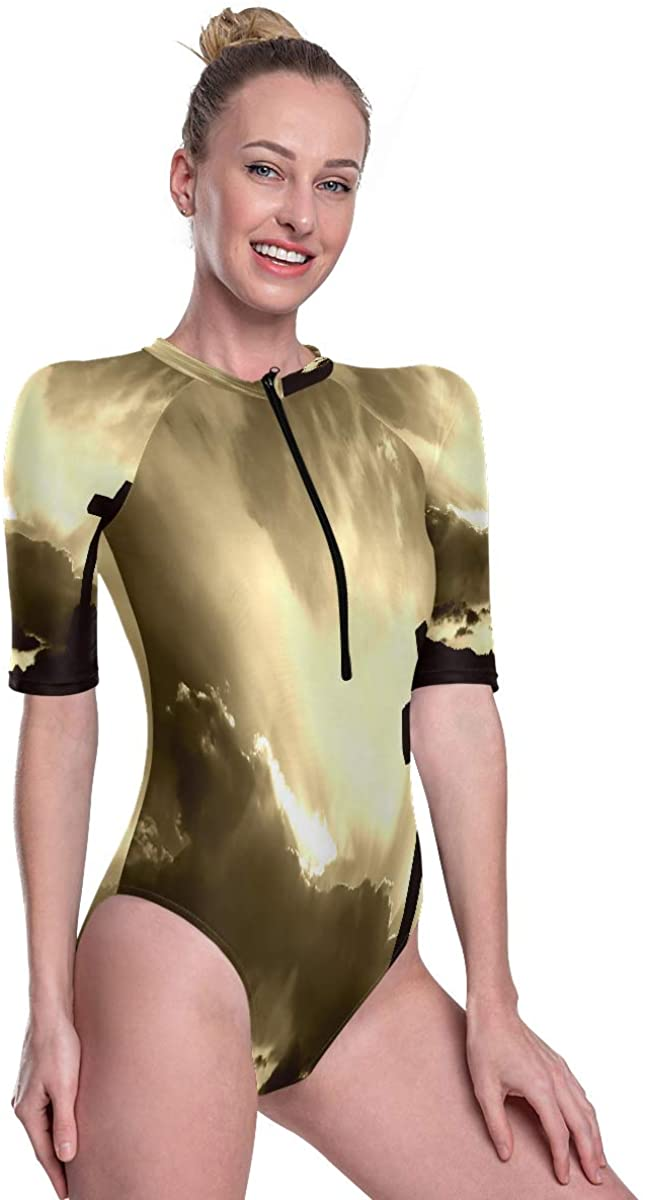 Womens Zip Up Printed Short Sleeve 1 Piece Rash Guard Swimsuit Christian Special Cross Sunset Swimwear