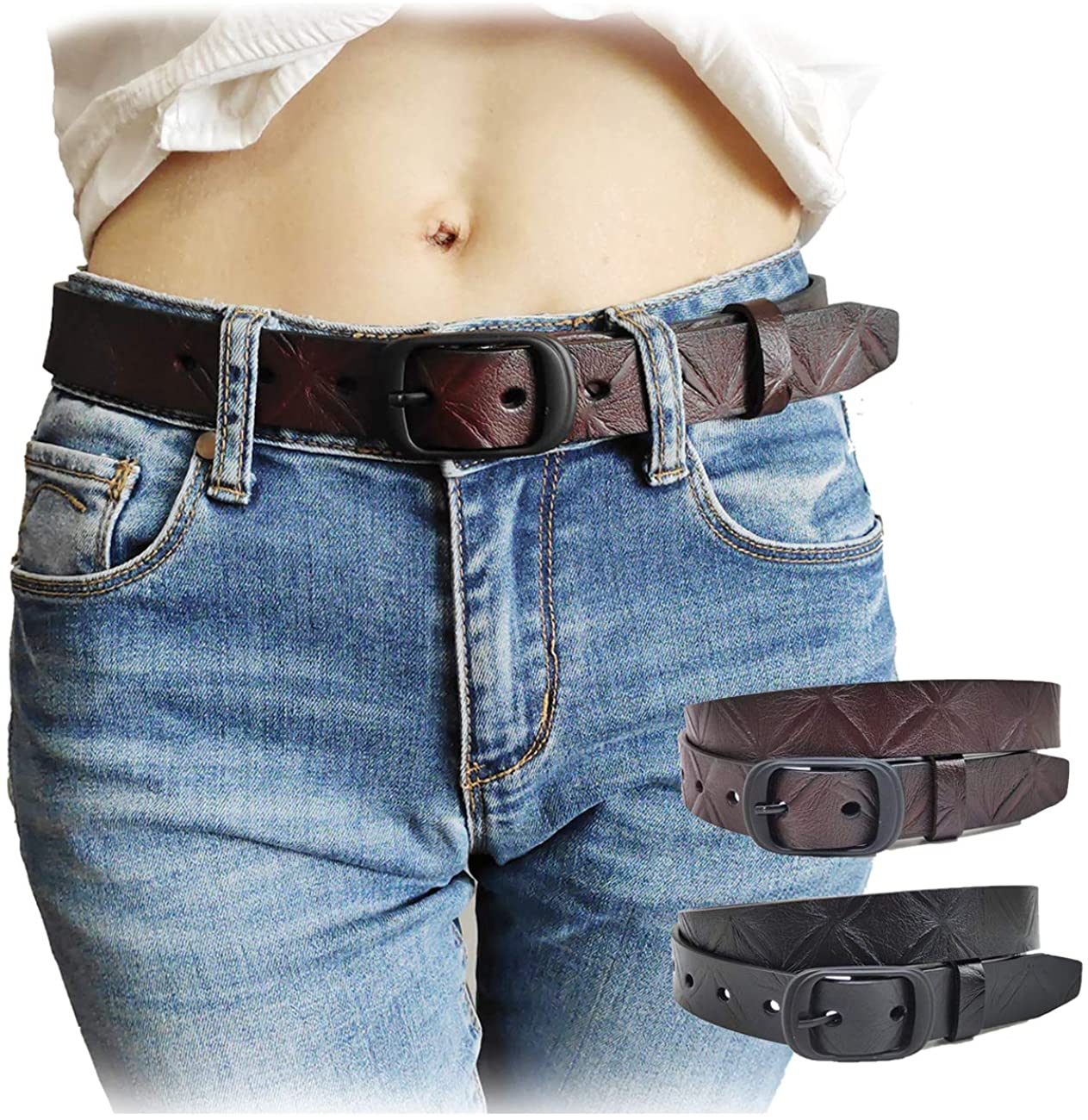 Hoanan Women Leather Belt for Jeans Pant Shorts Waist Belt with Pin Buckle