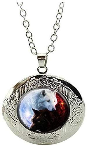 Vintage White Wolf Locket Necklace Charm Jewelry Art Photo Jewelry Handmade Jewelry