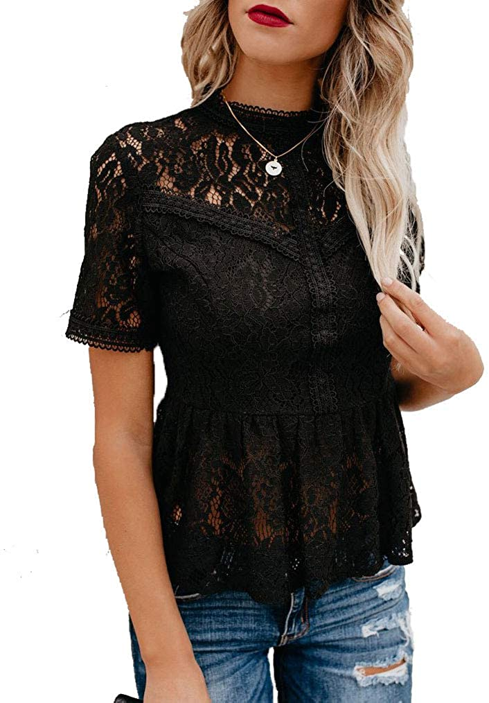 Tobrief Women's Short Sleeve/Long Sleeve Sexy Sheer Mesh Lace Blouse Peplum Top