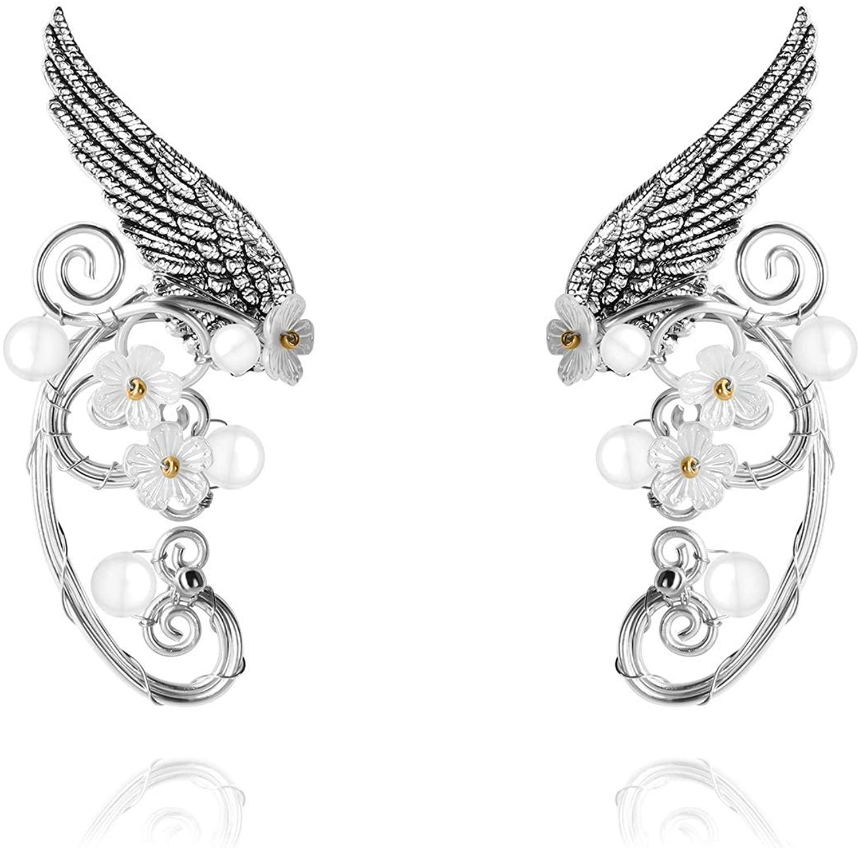 Elf Ear Cuffs, Pearl Beads Filigree Leaf Fairy Elven Cosplay Fantasy Handcraft Ear Cuffs Women Girls Wedding Jewelry