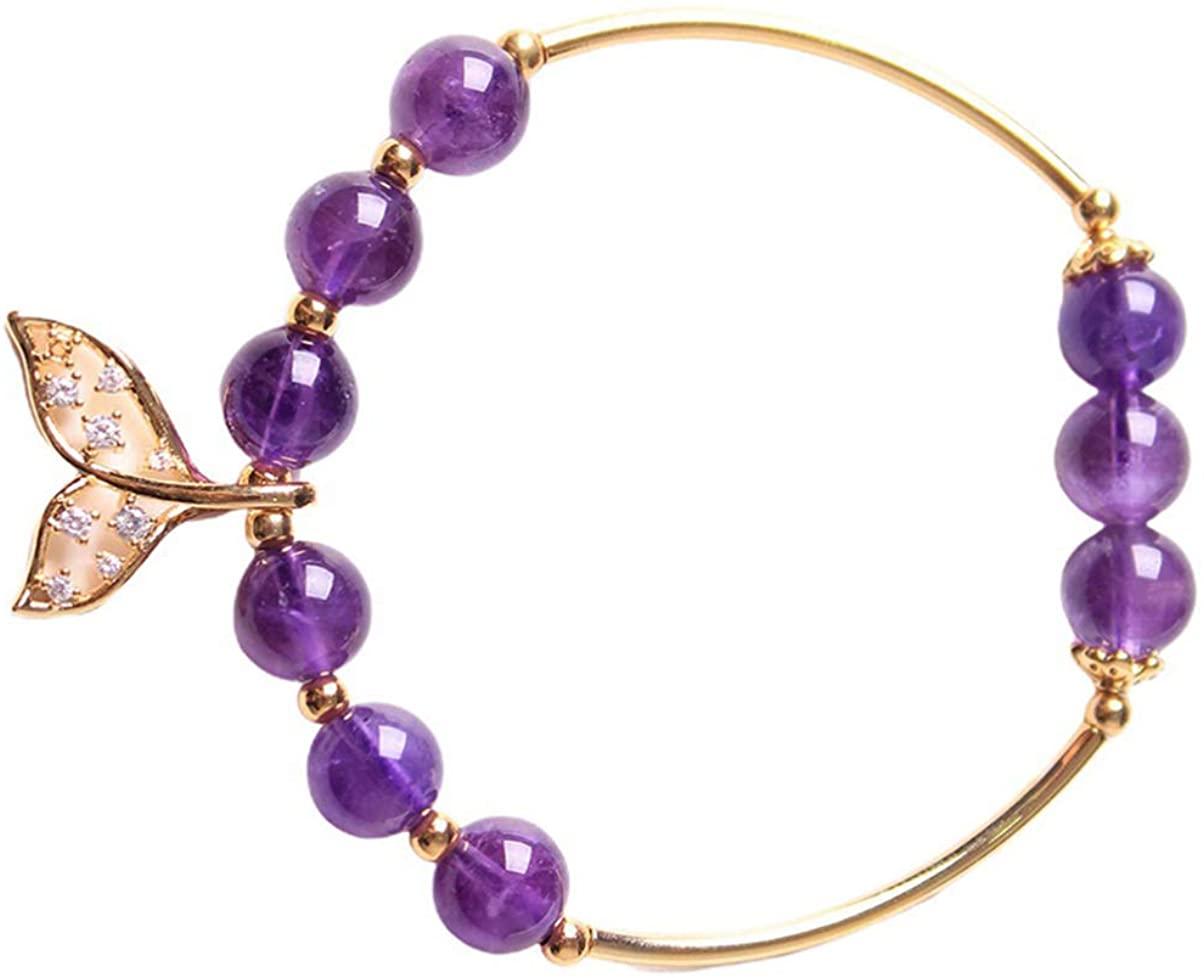 Happyyami 1pcs Bead Bracelet Simple Bracelet Bangles Shining Crystal Hand Chain Stylish Bangle Jewelry or Gift for Lady Women Mother Girls (Purple)