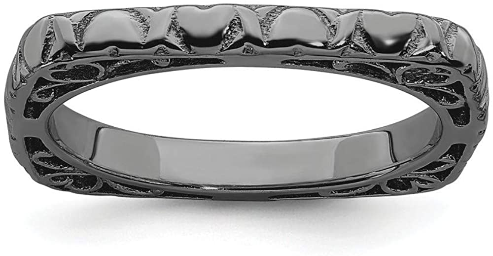 Beautiful Sterling silver 925 sterling Sterling Silver Stackable Expressions Polished Black-plated Square Ring