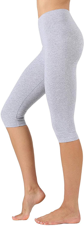 The Lovely Women & Plus High Waist Below Knee-Length Capri Cotton Spandex Leggings
