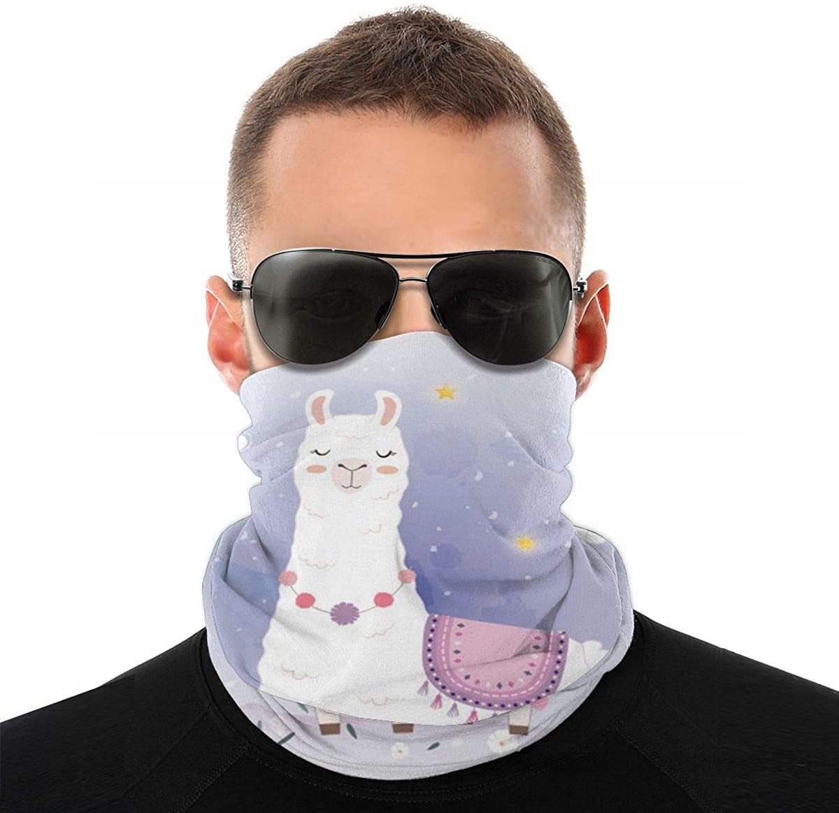 CUKENG Cute Llama Design with Meteor Unisex Neck Warmer Tube Neck Gaiter Bandana with Filters
