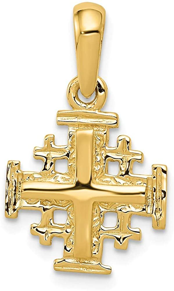 14K Yellow Gold Jerusalem Cross Charm