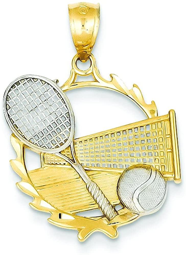 14K Two Tone Gold Tennis Racquet Ball & Court Charm
