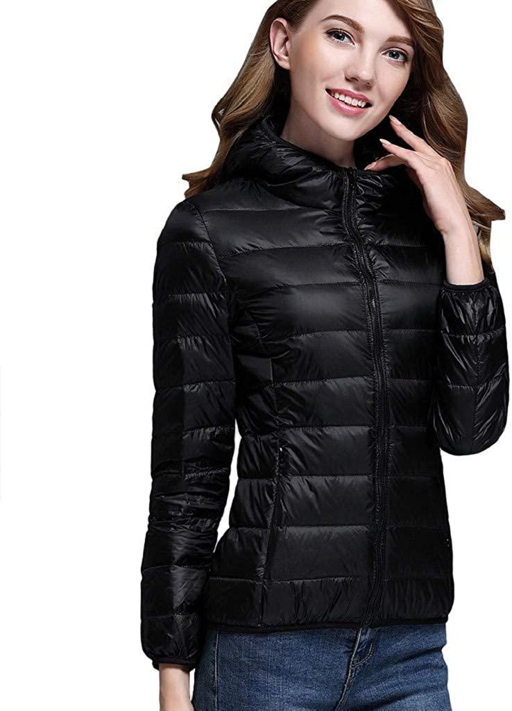Daopwlkom Womens Packable Short Down Jacket, Lightweight Hooded Puffer Jacket Down Outerwear Parka Jackets Winter Coat