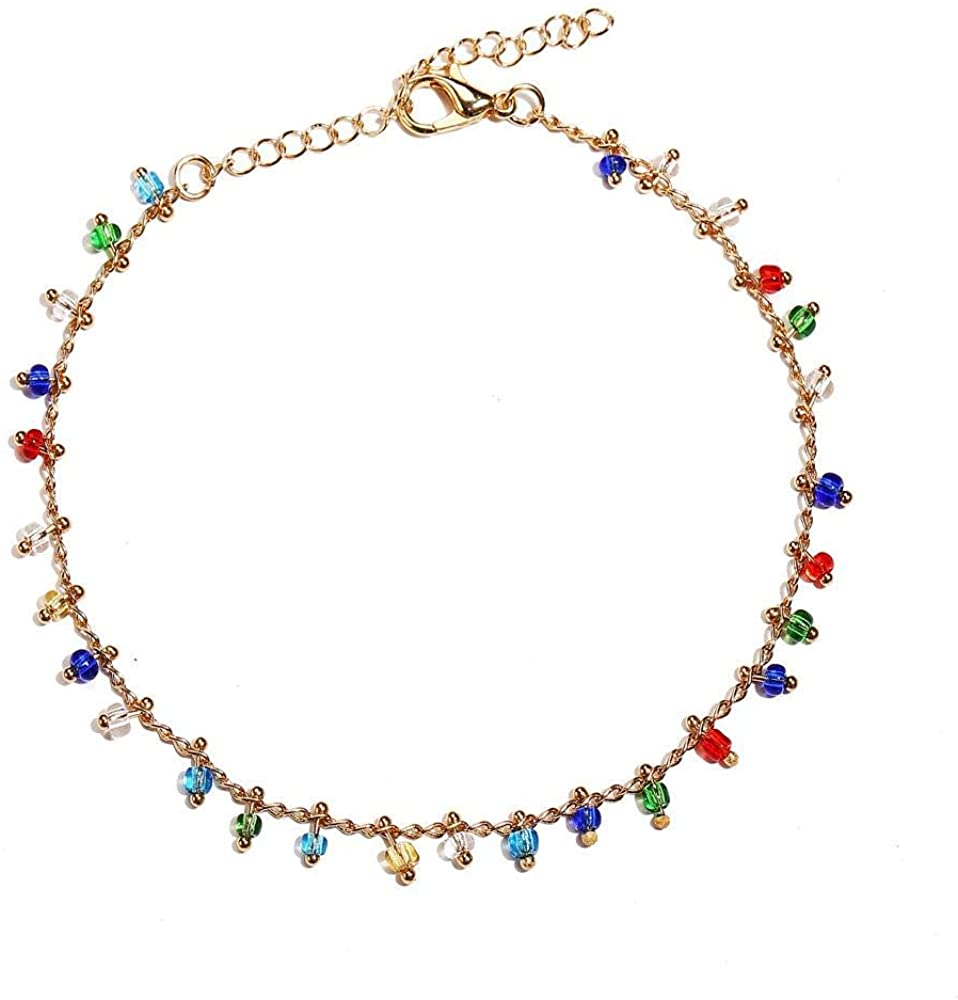 UncleJ Colorful Stone Anklets Alloy Ankle Bracelet Foot Chain for Stud