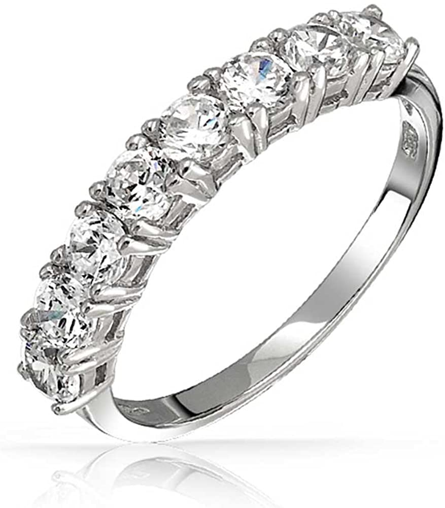 7 Round Solitaires Cubic Zirconia AAA CZ Stackable Anniversary Wedding Band Ring For Women 925 Sterling Silver 3MM