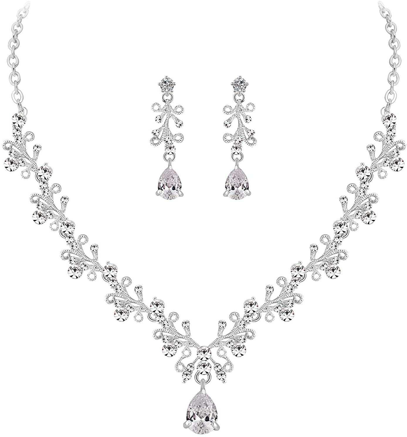MOOCHI Wedding Silver Plated Clear Cubic Zircon Pendant Crystal Necklace Earrings Jewelry Set for Bridal Brides Women Girls Bridesmaids Statement Costumes Accessories Dress Gift