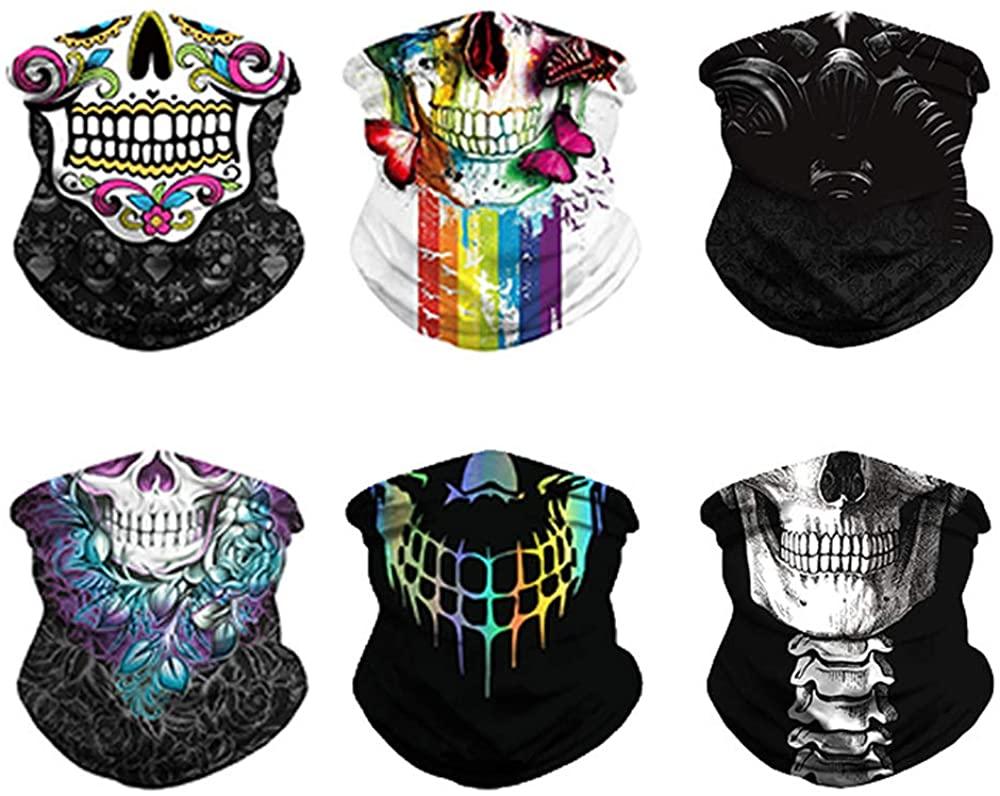 Face Bandanas Mask 6PCS Neck Gaiter Sets for Women Men Neck Headwear Magic Scarf Headband for Outdoor Dust Sun