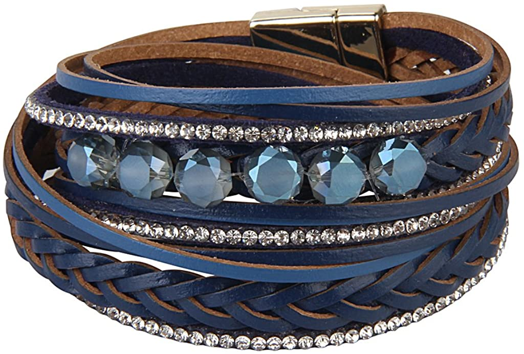 BeautySalon Shinning Rhinestones Wrap Leather Bangle with Buckle Magnetic Clasp for Women