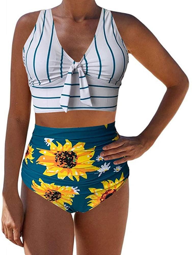 SevenDwarf Sunflower Striped Criss Cross Tummy Control Bikini Swimwear
