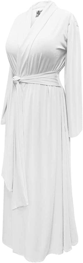 Plus Size Retro White Rayon Brushed Cotton Blend Hostess Robe w/Attached Belt