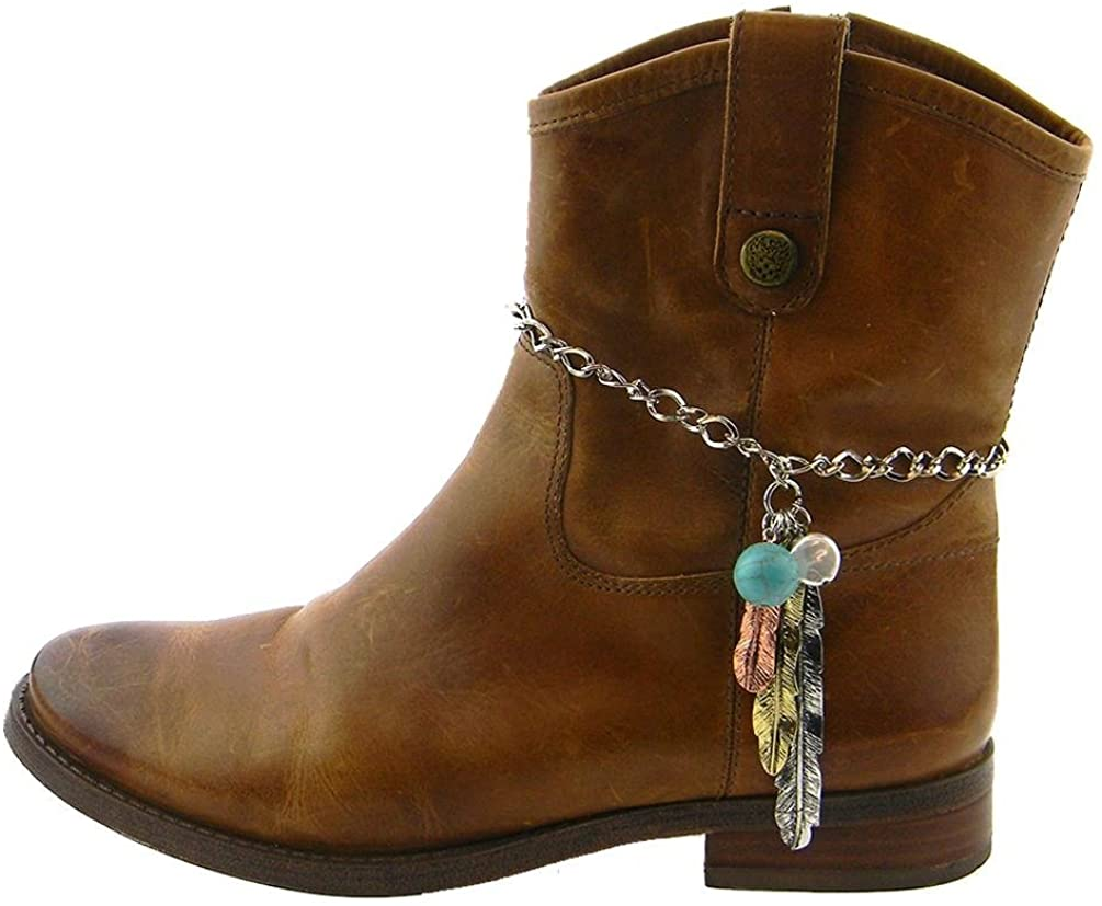 JP Aztec Feather Turquoise Charm Western Cowgirl Boot Strap Anklet Silver Copper Gold