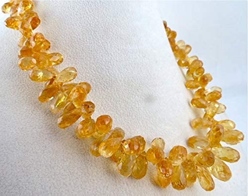 GemAbyss Beads Gemstone Natural Citrine Facetted TEARDROPS Necklace 18.5 INCHES 18MM to 10MM Code-MVG-46298