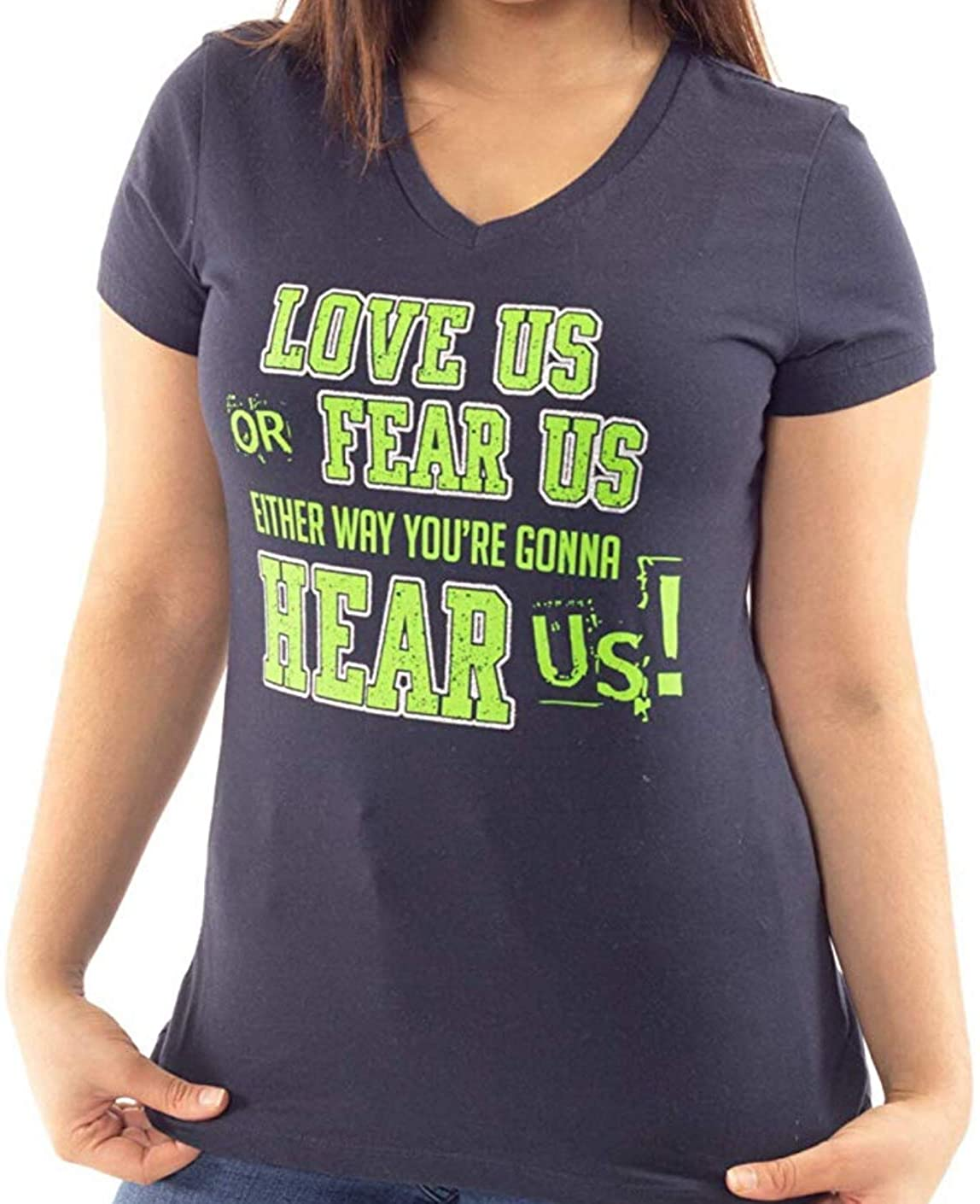 Lady 12 Womens Tee Shirt Graphic Love Us or Fear Us Seattle Football Design with Glitter Accents   Plus Sizes (XS-4X)