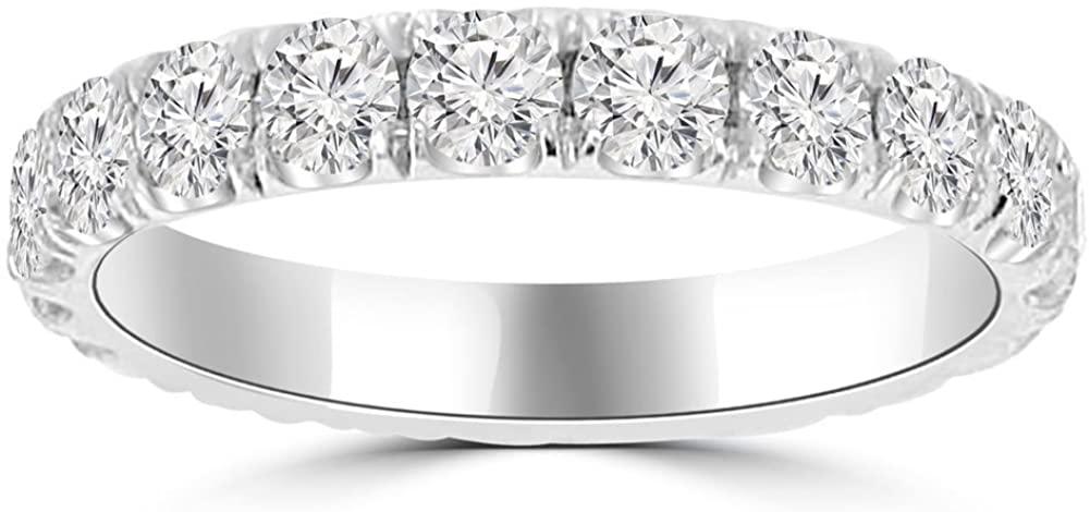 Madina Jewelry 2.00 ct Ladies Round Cut Diamond Eternity Wedding Band in 14 kt White Gold