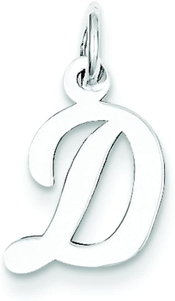 Sterling Silver Small Script Initial Letter D Charm