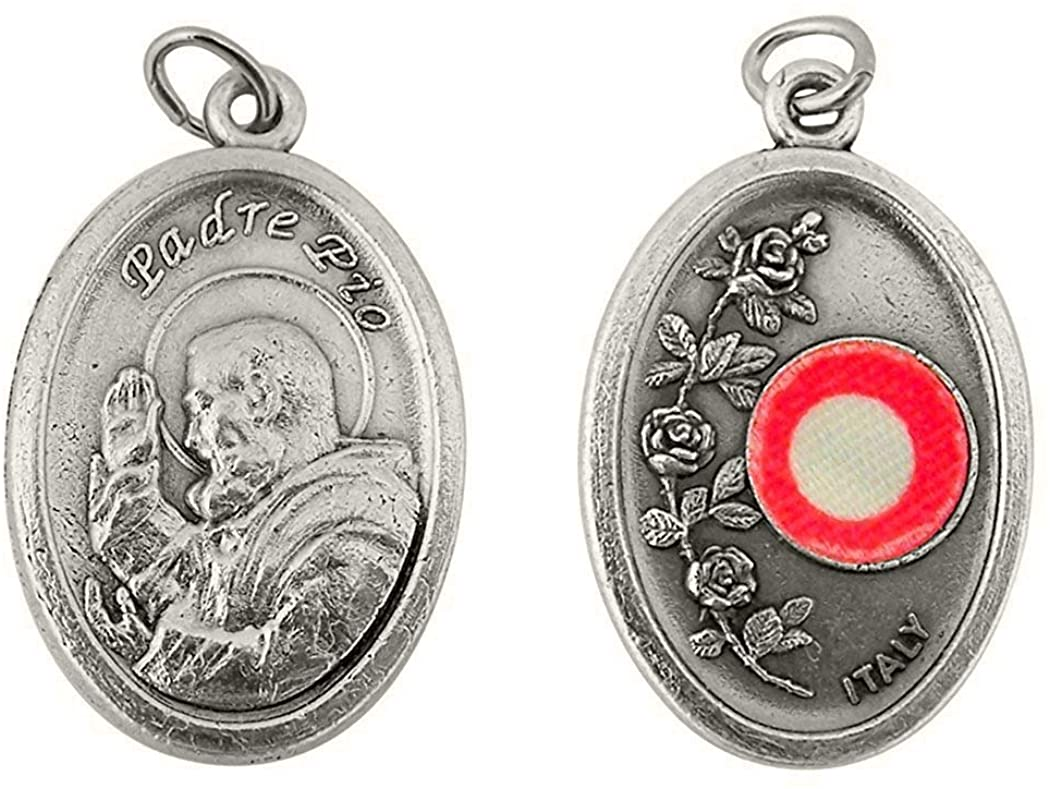 Silver Toned Base Catholic Saint 3rd Class Piece of Cloth Relic Medal, 1 Inch