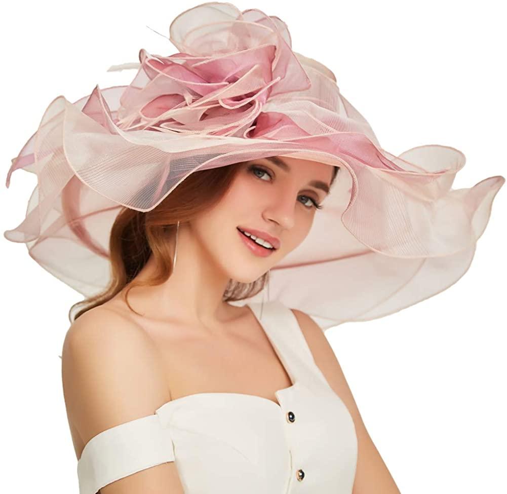 Go Mai Accessories Women's Organza Kentucky Derby Hat Fashion New Ladies Multicolor Elegant Personality Sun Hat
