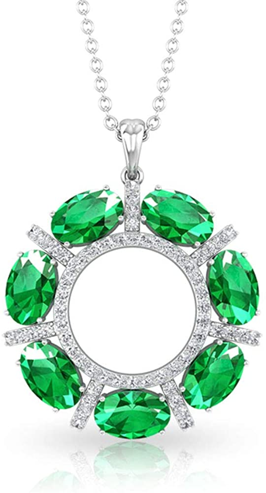 3.64 CT Oval Shape Emerald SGL Certified Diamond Open Circle Pendant, Green May Birthstone Anniversary Halo Pendants, Drop Wedding Necklaces Gift Idea