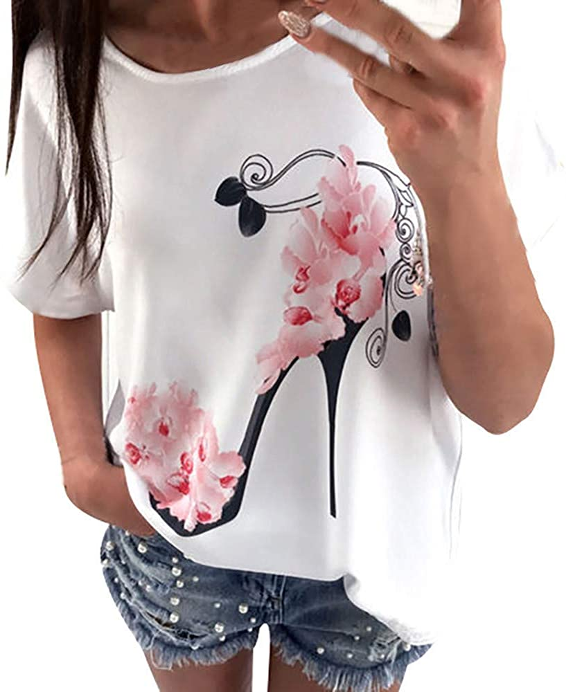 TWGONE Women Short Sleeve High Heels Printed Tops Beach Casual Loose Blouse Top T Shirt