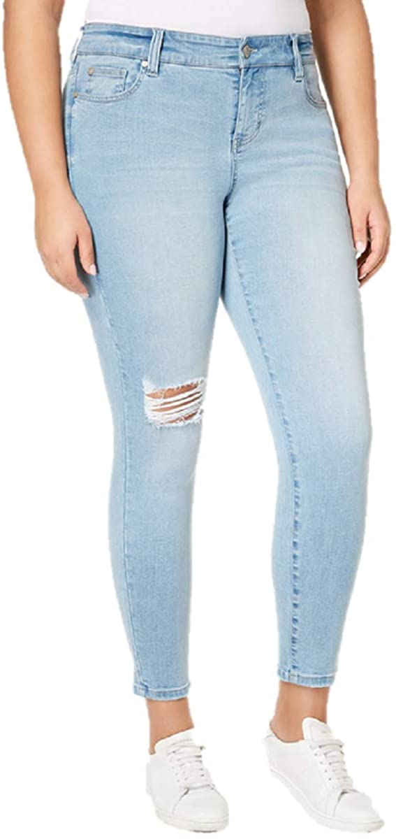 Celebrity Pink Plus Size Ripped Skinny Jeans in Guru Wash