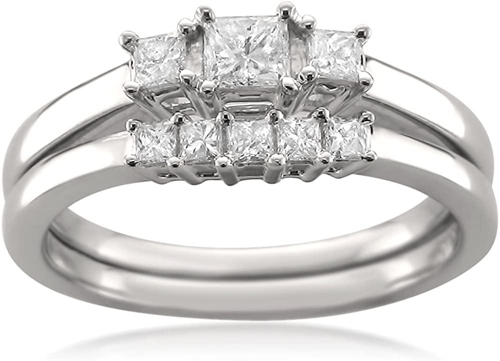 La4ve Diamonds 14k White Gold Princess-Cut Diamond Three-Stone Engagement Bridal Set Wedding Ring (1/2 cttw, I-J, I1-I2)