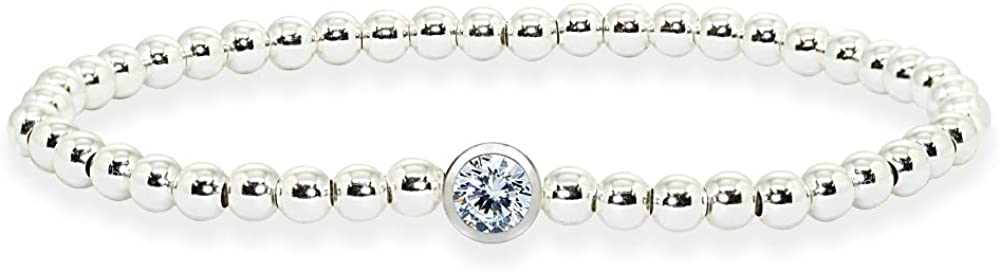 Sterling Silver Polished Beads Stretch Stack Bracelet Made with Swarovski Crystal For Women Teens Girls