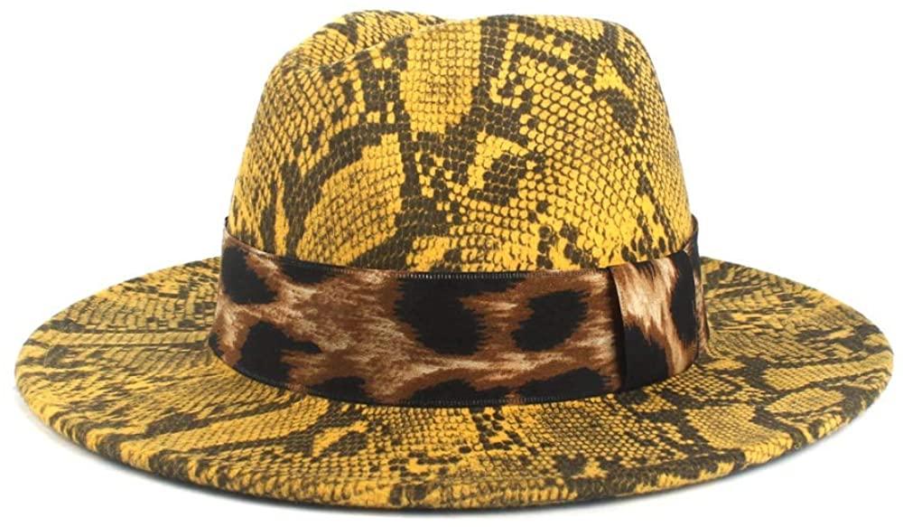 SHENLIJUAN Women Wool Fedora Hat Autumn Winter Lady Jazz Hat Church Hat with Wide Brim Jazz Hat Cloth Church Cap Size 56-58CM