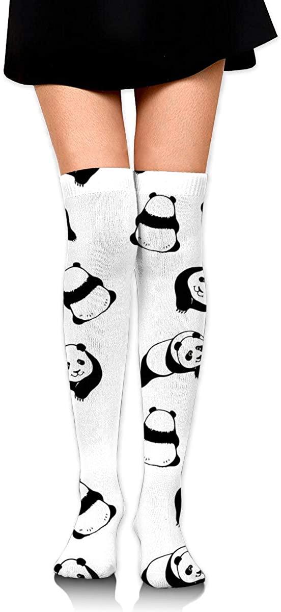 Dress Socks Cute Black White Panda Print High Knee Hose Hold-Up Stockings