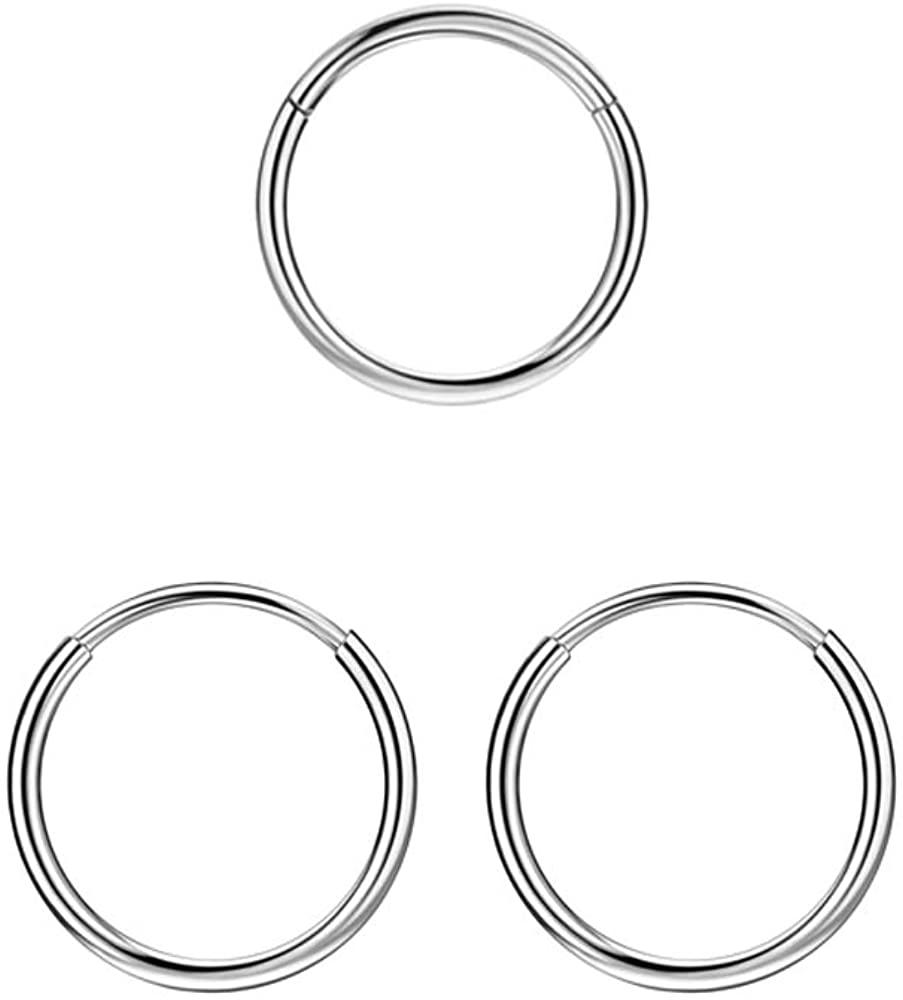1pc 20g 8mm Piercing Hoop & 1 pair Surgical Steel Endless Hoop Earrings