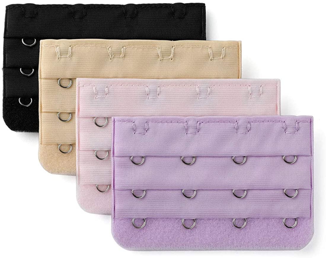 Allegra K Lady Brassiere Bra Underwear Extension Strap Extender 4-Hook 4 Pcs Black,Purple,Silver Tone,Light Pink,Medium Beige 7.6 x 5cm/ 3 x 2