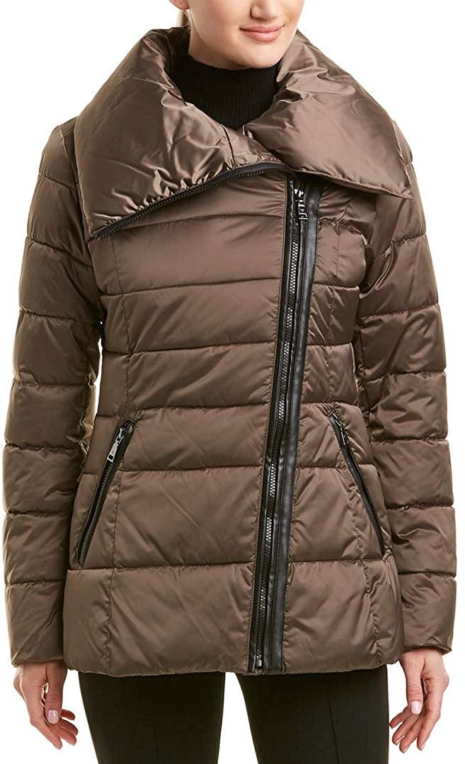 Tahari Blair Womens Asymmetric Moto Style Puffer Jacket Coat