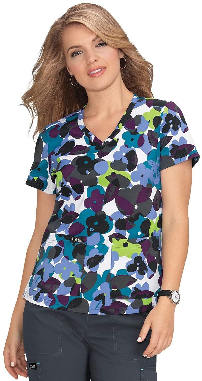 KOI Basics 384PR Women's Leslie Scrub Top Flower Pop 3XL