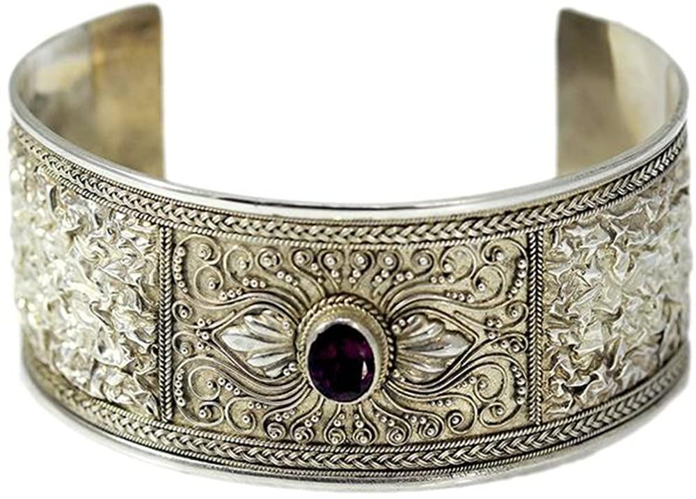 Mira Jewelry Design Sterling Silver Rhodolite Garnet Cuff Bracelet