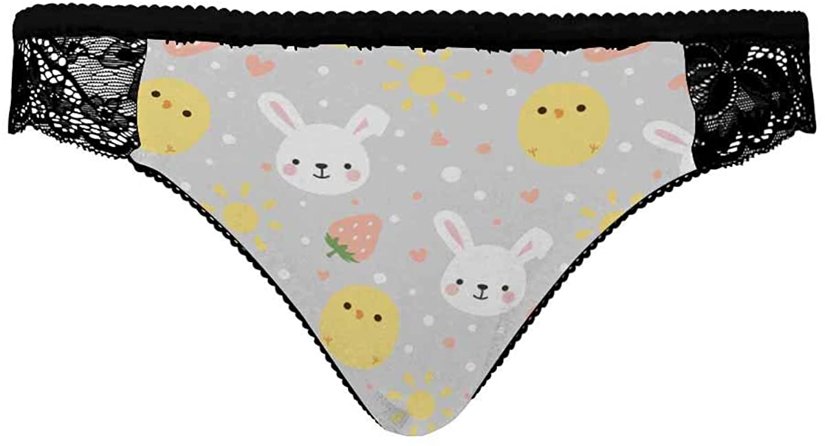 INTERESTPRINT Women's Underwear,Breathable Comfortable Briefs for Women Cartoon Bunny and Cute Chick