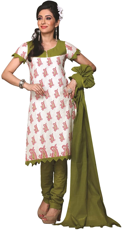 MINU Women's Unstitched Dress Material Free Size White