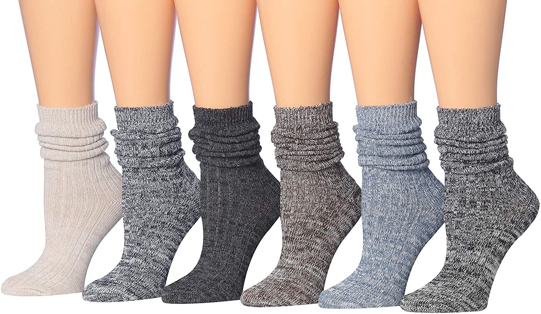 Tipi Toe Womens Cotton Extra Warm Winter Crew Boot Socks 6 Pairs